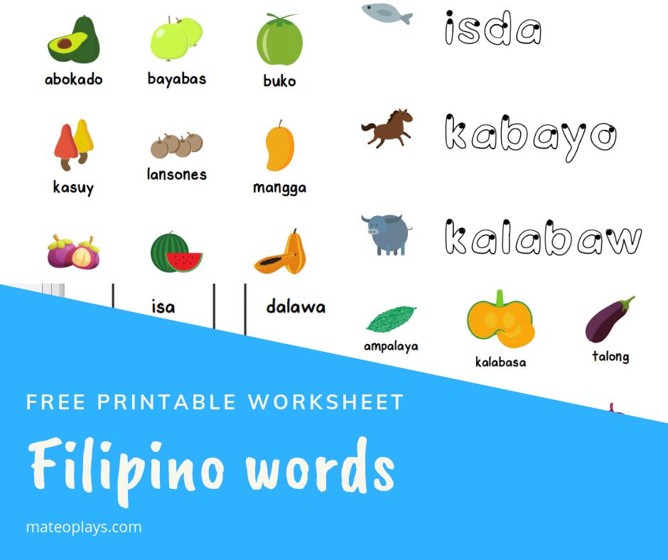Free Filipino words printable worksheet | Mateo Plays